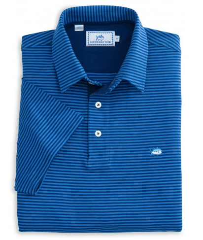 Southern Tide Channel Marker Striped Polo - Meridian Blue