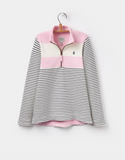 Joules Girl's Fairdale Half-Zip Sweatshirt - Rose Pink Stripe