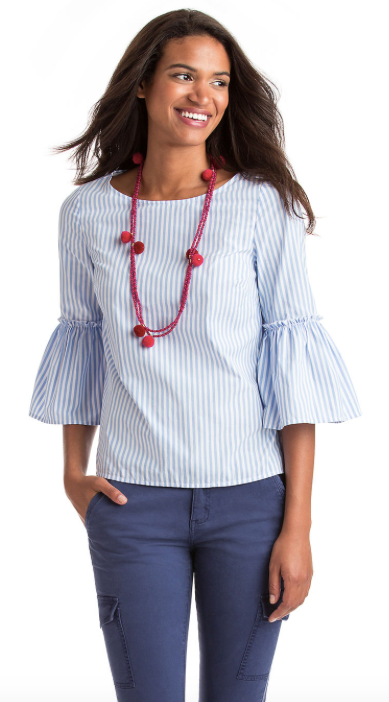 Vineyard Vines Stripe Bell Sleeve Top - Jake Blue