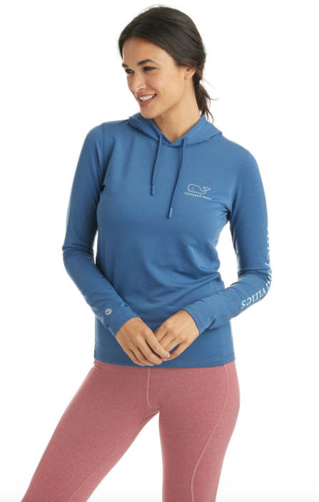 Vineyard Vines Long-Sleeve Whale Tail Performance Hoodie - Moonshine