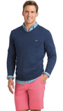 Vineyard Vines Lightweight Heathered V-Neck - Deep Bay