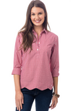 Southern Tide Scalloped Gingham Popover - Cranberry