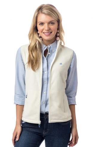 Southern Tide Maggie Valley Fleece Vest - Marshmallow
