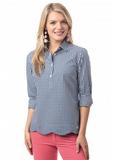 Southern Tide Scalloped Gingham Popover - Nautical Navy
