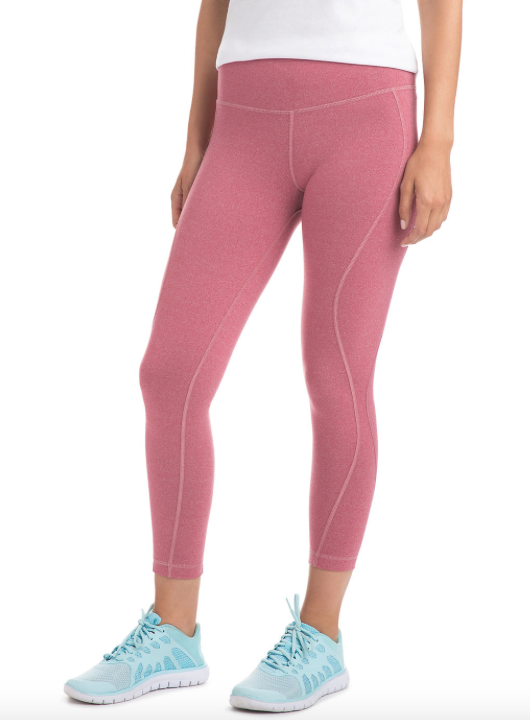 Vineyard Vines Solid Heather Performance Leggings - Beet Red