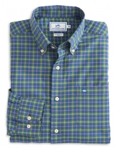 Southern Tide Neptide Plaid Sport Shirt - Bayou