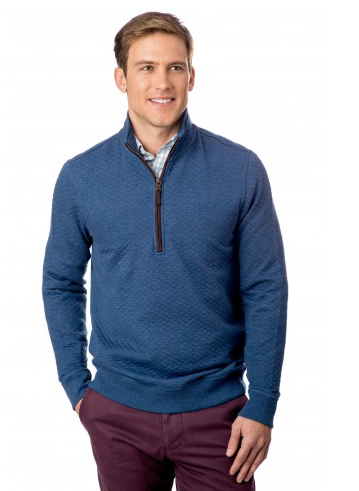 Southern Tide Sundown Quilted 1/4 Zip Pullover - Skipper Blue