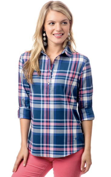 Southern Tide Cabin Fever Plaid Hadley Popover - Yacht Blue