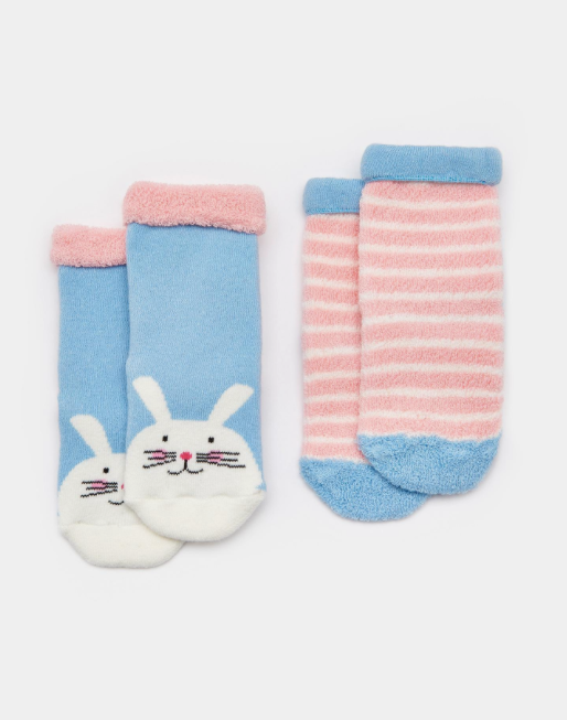 Joules Terry Two Pack Towelling Socks - Bunny