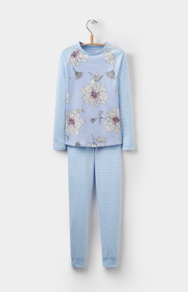 Joules Girls Sleepwell Jersey Pajama Set - Sky Blue Peony