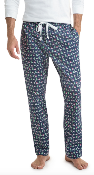 Vineyard Vines Santa Whale & Tree Lounge Pants - Deep Bay
