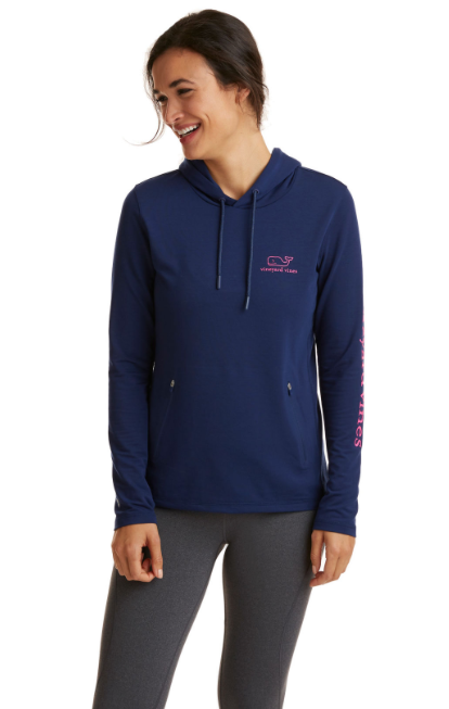 Vineyard Vines Long-Sleeve Performance Whale Hoodie Tee - Deep Bay