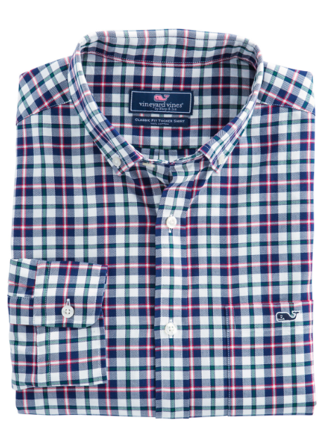 Vineyard Vines Warm Ember Plaid Classic Tucker Shirt - Barberry