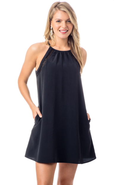 Southern Tide Christine Silk Lace Inset Dress - Midnight Black