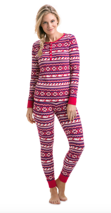 Vineyard Vines Whale Isle Waffle Knit PJ Set - Lighthouse Red