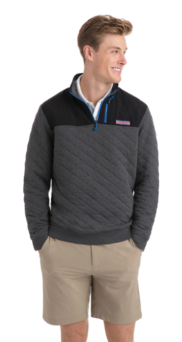 Vineyard Vines Quilted 1/4-Zip Shep Shirt - Charcoal Heather