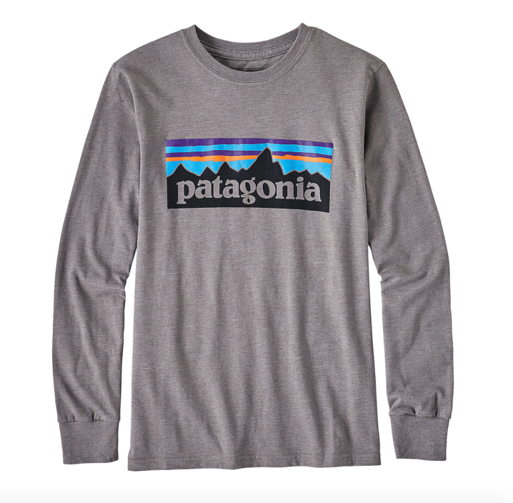 Patagonia Boys' Long-Sleeved P-6 Logo Organic Cotton/Poly T-Shirt - Narwhal Grey