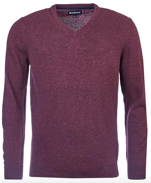 Barbour Essential Lambswool V-Neck - Merlot