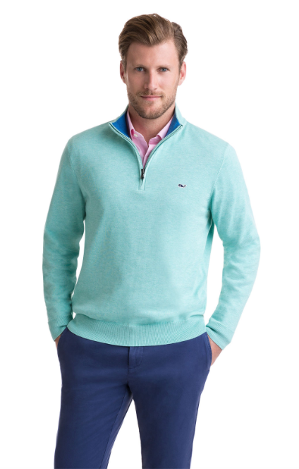 Vineyard Vines 1/4-Zip Mock Neck Sweater - Sea Foam