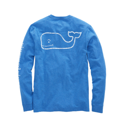 Vineyard Vines Long-Sleeve Heathered Vintage Whale Pocket T-Shirt - Royal Ocean