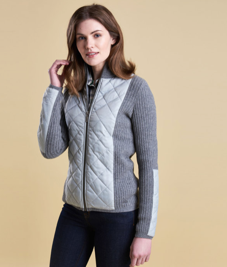 Barbour Sporting Zipped Top - Light Grey Marl