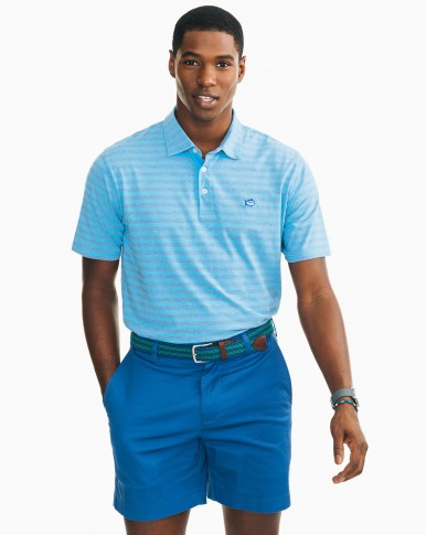 Southern Tide Heathered Channel Marker Stripe Polo - Squall Grey