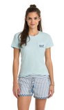 Vineyard Vines Relaxed Slub Watercolor Lines Pocket Tee - Ocean Mist