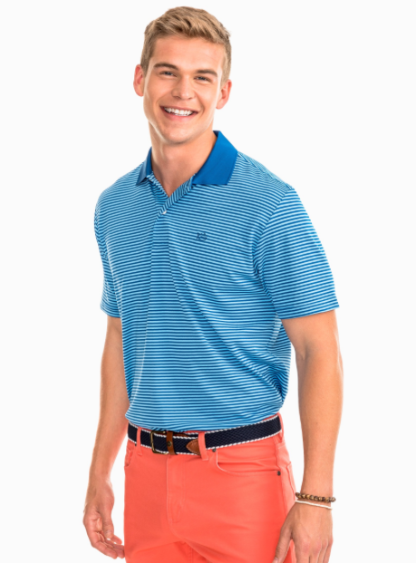 Southern Tide Fort Charlotte Stripe Performance Polo - Blue Lake