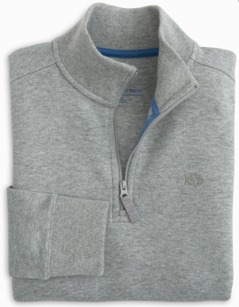 Southern Tide Boys' Heathered Skipjack 1/4 Zip Pullover - Light Grey