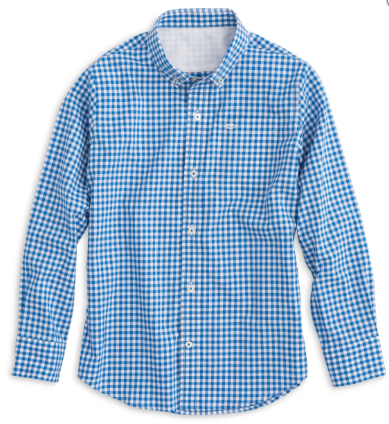 Southern Tide Boys' Gingham Sport Shirt - Sail Blue
