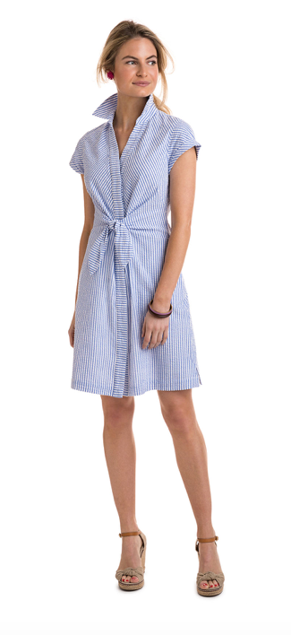 Vineyard Vines Tie Front Seersucker Shirt Dress - Cornflower