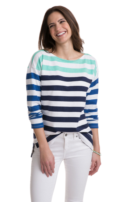 Vineyard Vines Combo Stripe Boatneck Top - Deep Bay