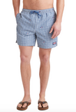 Vineyard Vines Flag Whale Embroidered Gingham Chappy Trunks