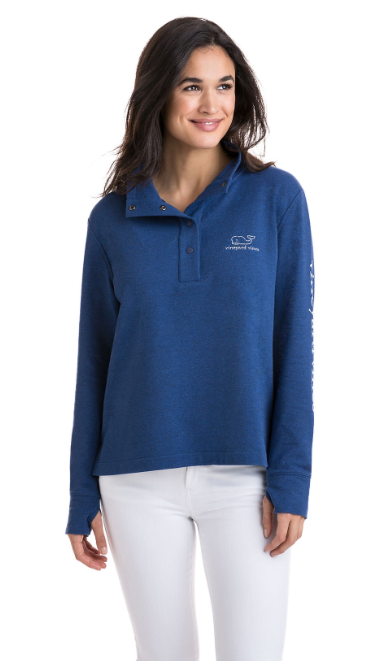 Vineyard Vines Long-Sleeve Vintage Whale Snap Placket Pullover - Deep Bay