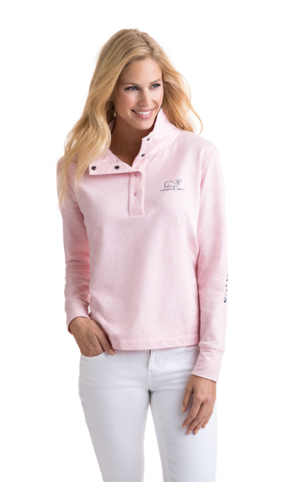 Vineyard Vines Long-Sleeve Vintage Whale Snap Placket Pullover - Flamingo
