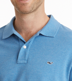 Vineyard Vines Stretch Pique Heather Polo - Dockside Blue