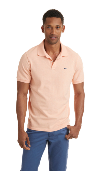 Vineyard Vines Stretch Pique Heather Polo - Peachy