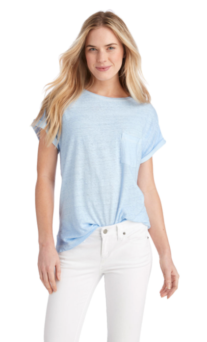 Vineyard Vines Garment Dyed Linen Blend Roll Sleeve Tee - Cloud