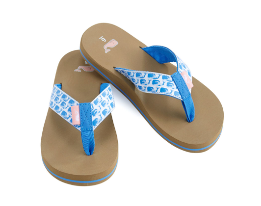 Vineyard Vines Water Color Whales Flip Flops - Blue Jay