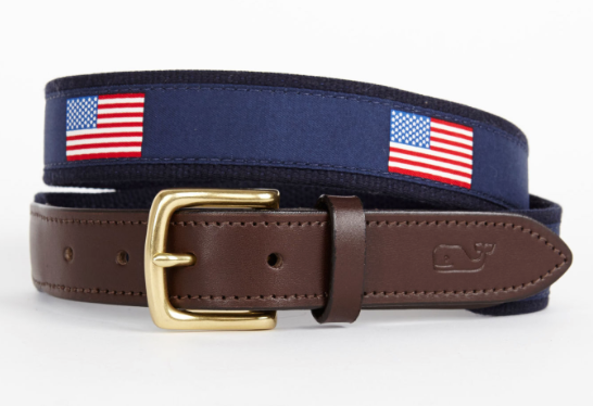 Vineyard Vines American Flags Canvas Club Belt - Navy