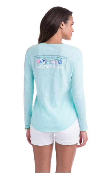 Vineyard Vines Long-Sleeve Slub Burgee Flag Tee - Caicos
