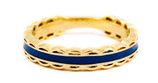 Kiel James Patrick Scalloped Ring - Navy