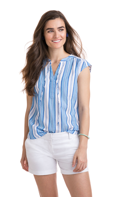 Vineyard Vines Short-Sleeve Ocean Stripe Popover - Blue Jay