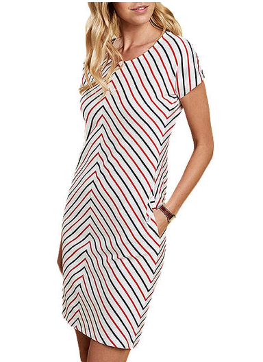 Barbour Whitmore Striped Dress - White/Navy/Orange