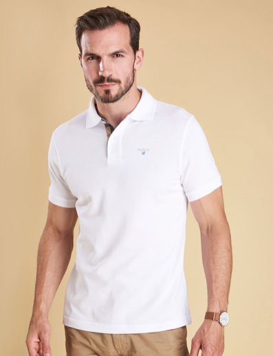 Barbour Tartan Pique Polo Shirt - White/Dress