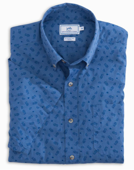 Southern Tide Island Vibes Print Short Sleeve Sport Shirt - Dutch Blue