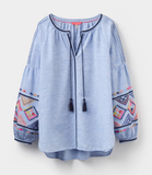 Joules Yolanda Long Sleeve Embroidered Top - Light Blue Stripe