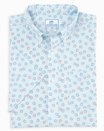 Southern Tide Fireworks Print Short Sleeve Sports Shirt - Sky Blue