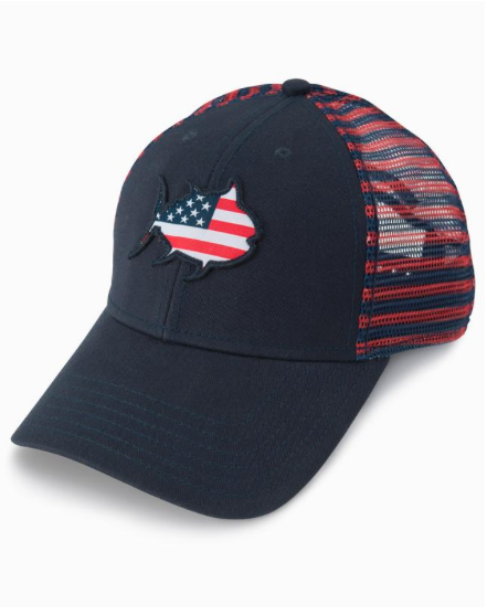 Southern Tide Kids Flag Skipjack Striped Trucker Hat - Navy
