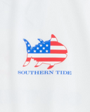 Southern Tide Flag Skipjack Long Sleeve Performance T-Shirt - Classic White
